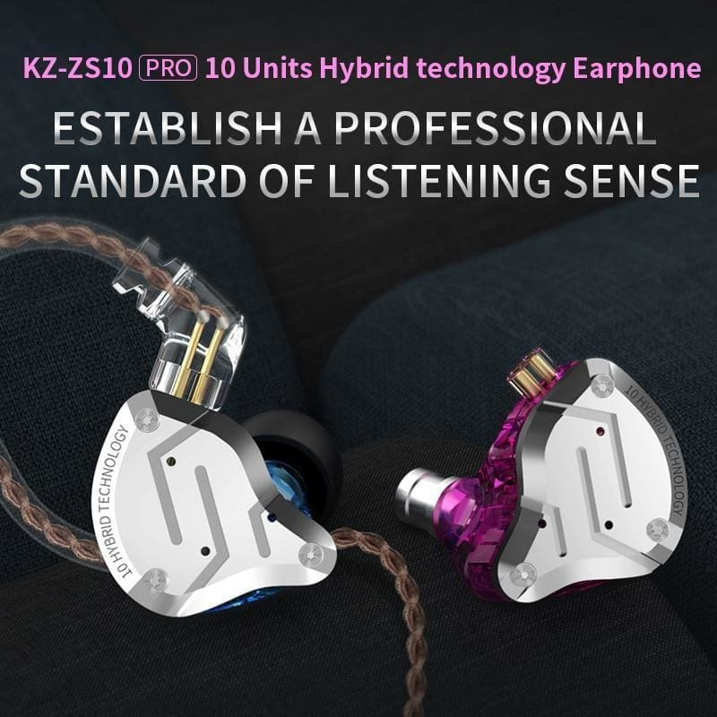 Kz zs10 pro 4ba+1dd kz hybrid earphone headset hifi earbuds in ear monitor headphones earbuds for kz as10 zs10 zsn pro - on sale