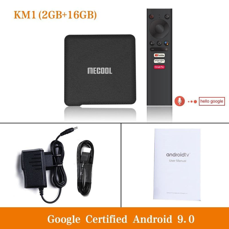 Mecool km1 android 9.0 tv box 4gb ram 64gb rom amlogic s905x3 2.4g/5g wifi 4k bt4.2 voice control google certified tv box - ₹7,199