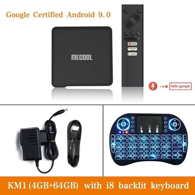 Mecool km1 android 9.0 tv box 4gb ram 64gb rom amlogic s905x3 2.4g/5g wifi 4k bt4.2 voice control google certified tv box - ₹11,899