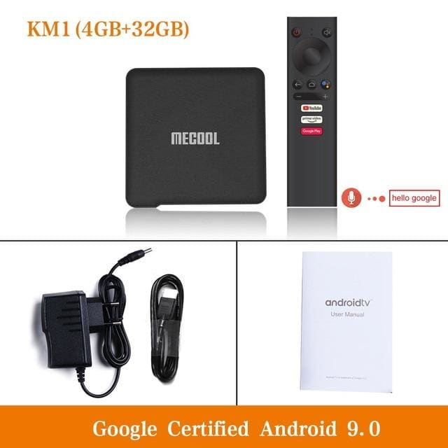 Mecool km1 android 9.0 tv box 4gb ram 64gb rom amlogic s905x3 2.4g/5g wifi 4k bt4.2 voice control google certified tv box - ₹9,499