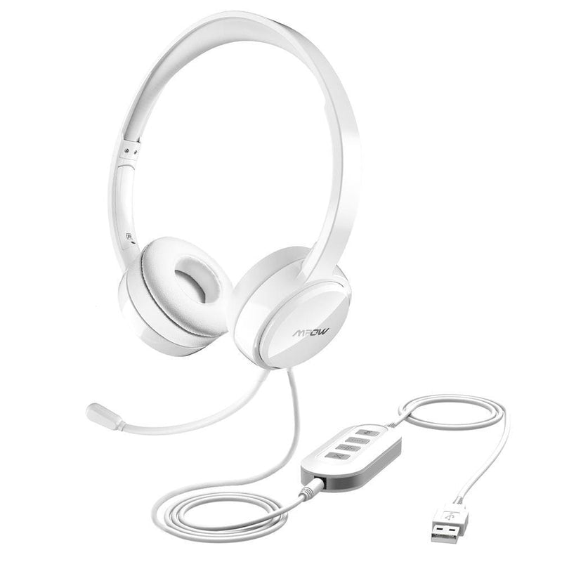 Mpow bh125 usb/3.5mm plug wired headphones with mic for mac skype call center pc laptop tablet phones with noise reduction card - on sale