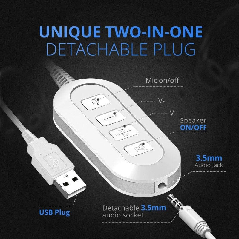 Mpow BH125 USB/3.5mm Plug Wired Headphones With Mic For Mac Skype Call Center PC Laptop Tablet Phones With Noise Reduction Card