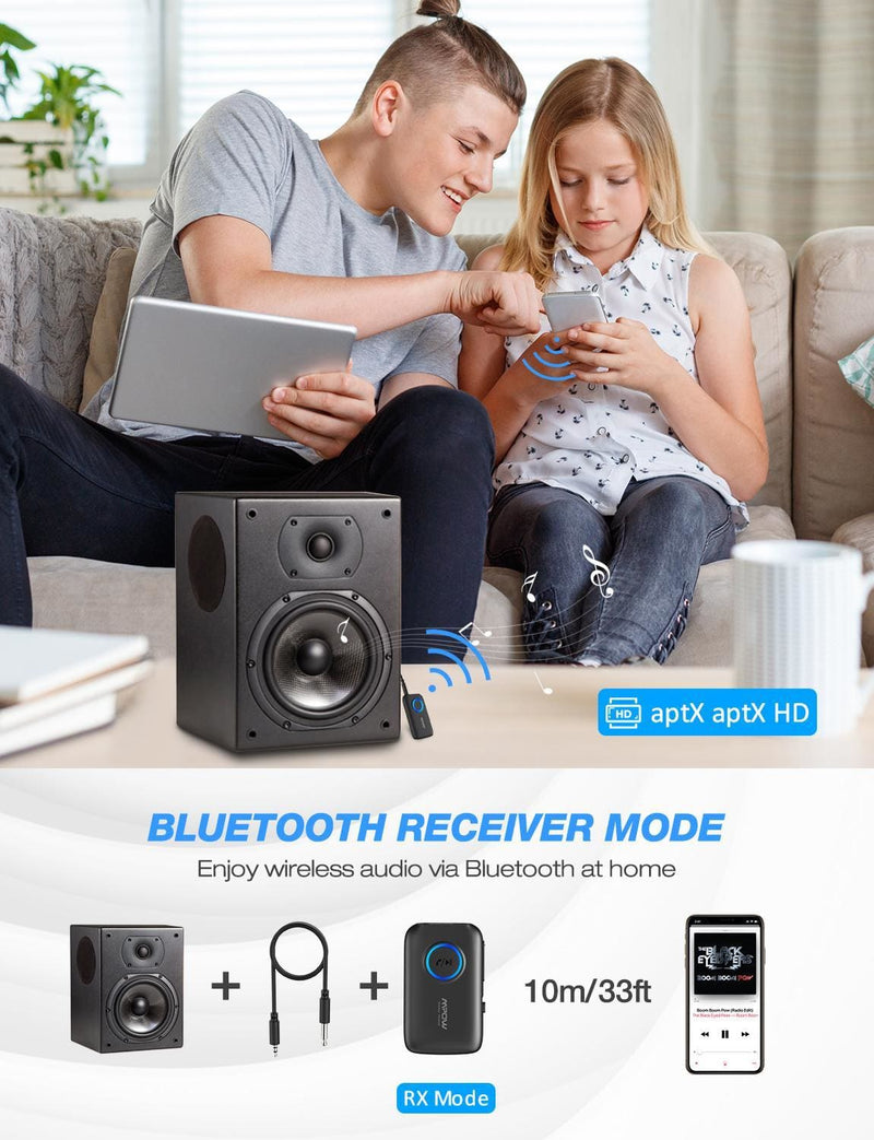Mpow BH390 Bluetooth Adapter 5.0 Receiver/Transmitter Support APTX/APTX-LL/APTX-HD With 3.5mm/RCA Plug For TV Car Home Audio PC (Bluetooth V5.0)