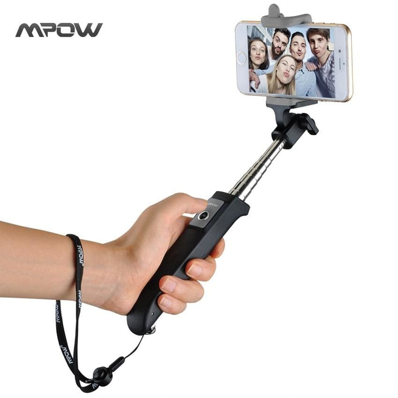 Mpow bluetooth selfie stick isnap y one-piece portable small tripod monopod bluetooth remote shutter for iphone android xiaomi - on sale