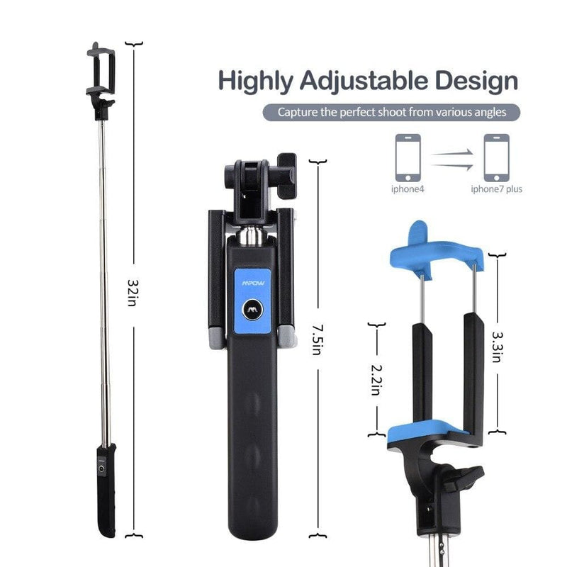 Mpow Bluetooth Selfie Stick iSnap Y One-piece Portable Small Tripod Monopod Bluetooth Remote Shutter for iPhone Android Xiaomi