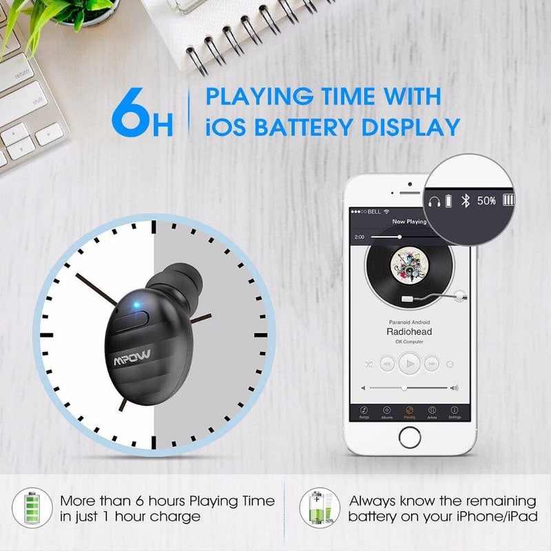 Mpow EM6 Mini Bluetooth Earphone V4.1 Business 6H Playtime Earbud Invisible Wireless Earphones With Mic For iPhone Android Phone