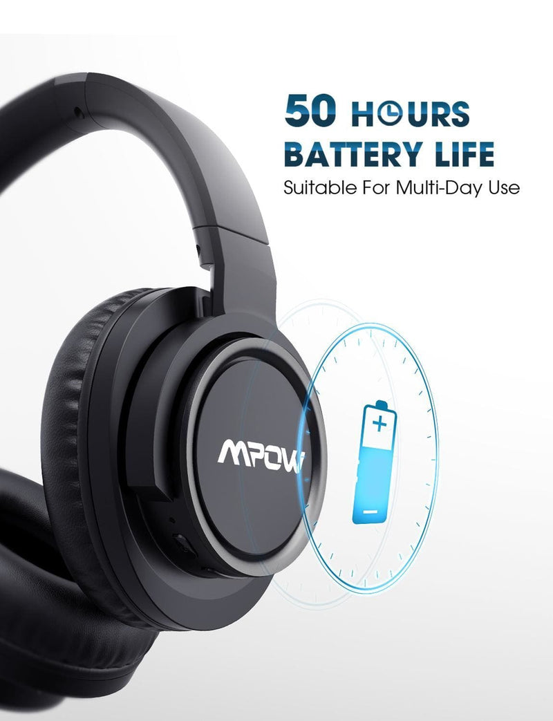 Mpow H18 Active Noise Cancelling Headphone 50 Hours Playing Time 17m/56ft Bluetooth Range With Carrying Case Hi-Fi Audio Bass (Black)