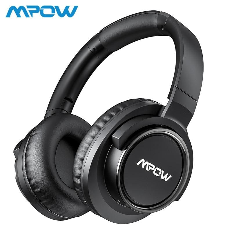 Mpow h18 active noise cancelling headphone 50 hours playing time 17m/56ft bluetooth range with carrying case hi-fi audio bass (black) - on