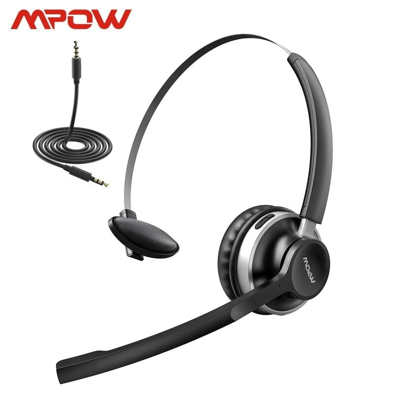 Mpow hc3 bluetooth 5.0 headphone dual noise cancelling microphone clear wireless & wired headset for pc laptop call center phones (black) -