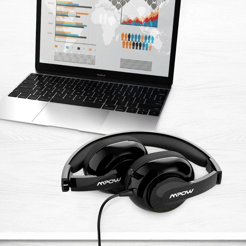 Mpow HC4 Wired Headphones For Call Center Retractable Microphone Foldable Headset USB/3.5mm Plug Headphone For Skype PC Tablet