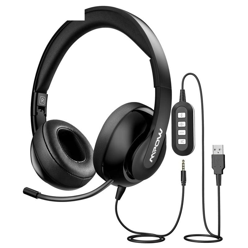 Mpow hc4 wired headphones for call center retractable microphone foldable headset usb/3.5mm plug headphone for skype pc tablet - on sale