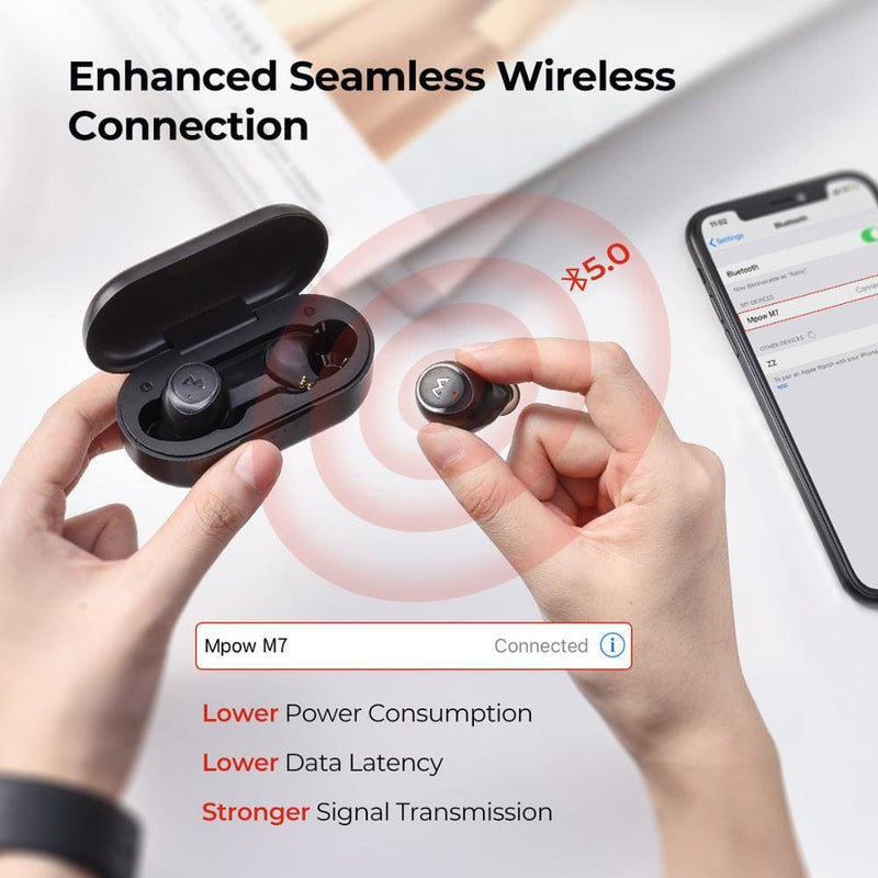 Mpow M7 TWS Wireless Earphones iPX7 Waterproof Bluetooth 5.0 30h Playing Time USB-C Charging For iPhone 11 Xs X Samsung Xiaomi 9