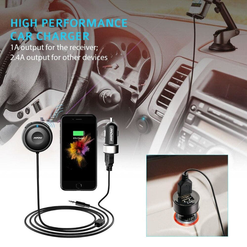 Mpow MBR2 Bluetooth Car Kit Hands-Free Calling Streambot Audio Receiver Wireless Stereo Receiver With Car Charger Noise Isolator (Bluetooth Receiver Bluetooth v4.0)