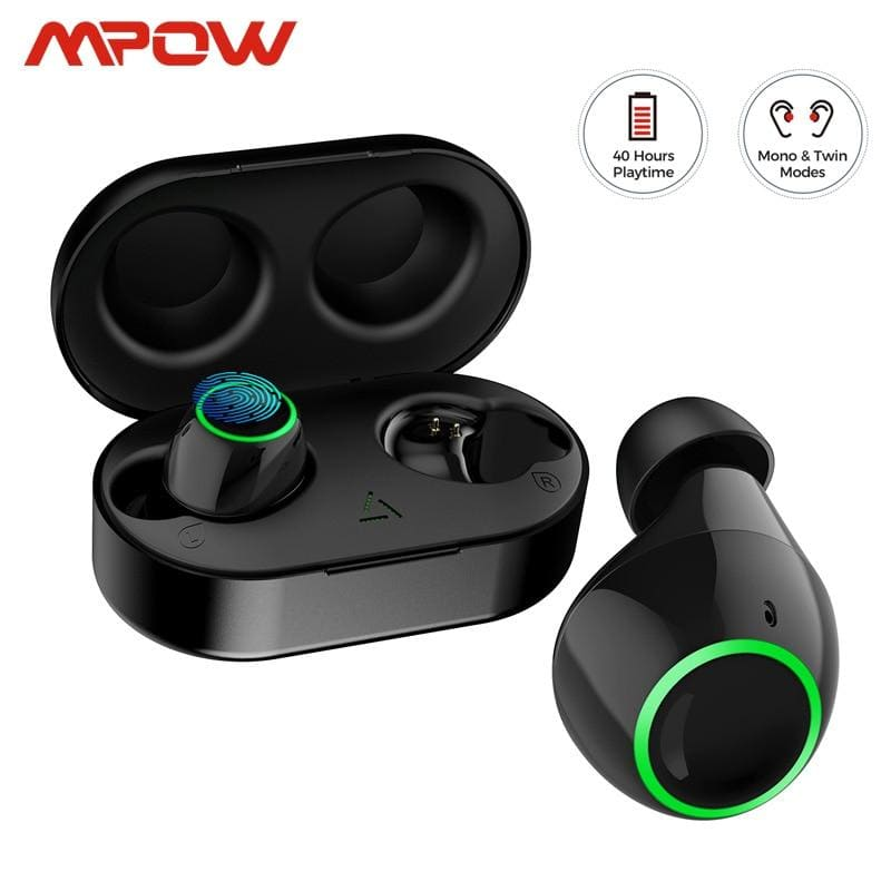 Mpow Updated T6 TWS Wireless Bluetooth 5.0 Earphones ipx7 Waterproof 40h Playing Time Wireless Earbud With Mic For iPhone Huawei (Black)