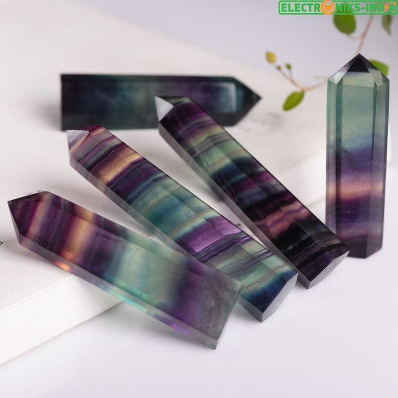 Navatulya® natural fluorite colorful striped crystal healing stone - on sale