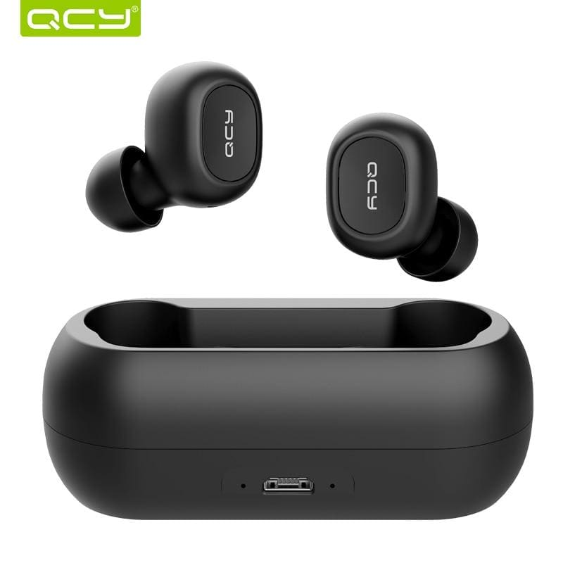Qcy qs1 earphones bluetooth 5.0 tws headphone mini invisible 3d hifi stereo wireless headset with power bank charging box/t1c - on sale