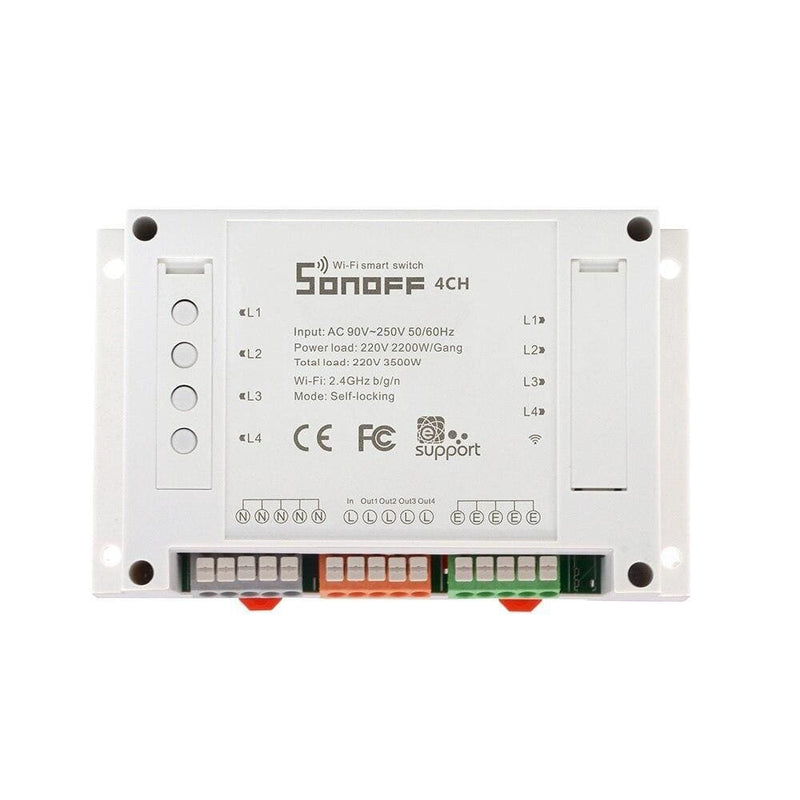 Sonoff 4CH Wifi Smart Switch Universal Remote Intelligent Switch Interruptor 4 Channel Din Rail Mounting Smart Home Wi-FI Switch