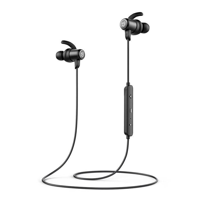 Soundpeats q35+ plus bluetooth 5.0 wireless earphones ipx8 waterproof sports earphones with magnetic charging aptx hd 14 hours playtime - on