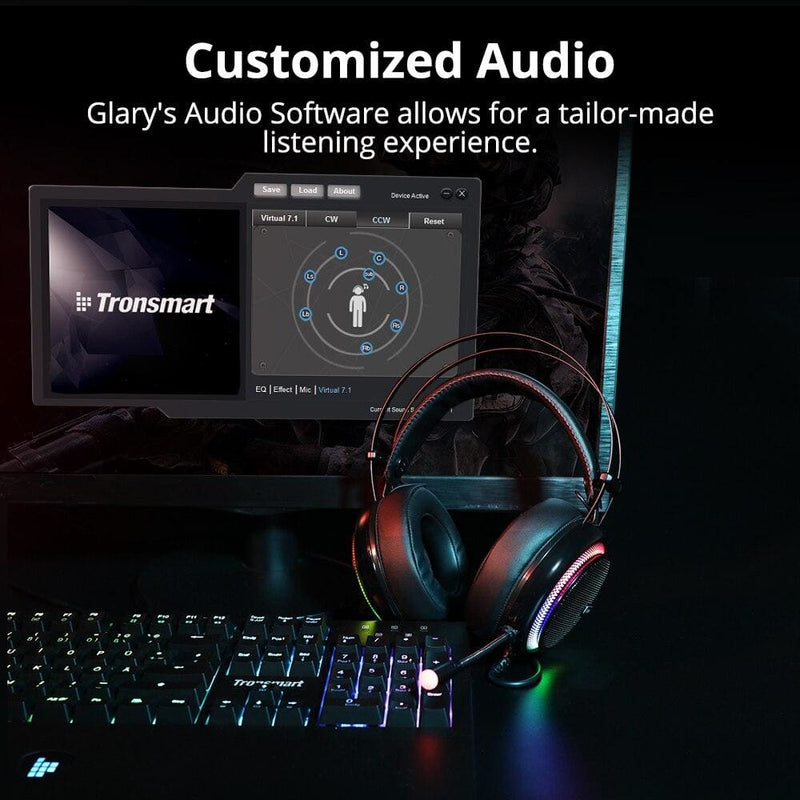 Tronsmart Glary Gaming Headset ps4 headset Virtual 7.1,USB Interface Gaming Headphones for ps4,nintendo switch,Computer,Laptop (Glary Gaming headset)