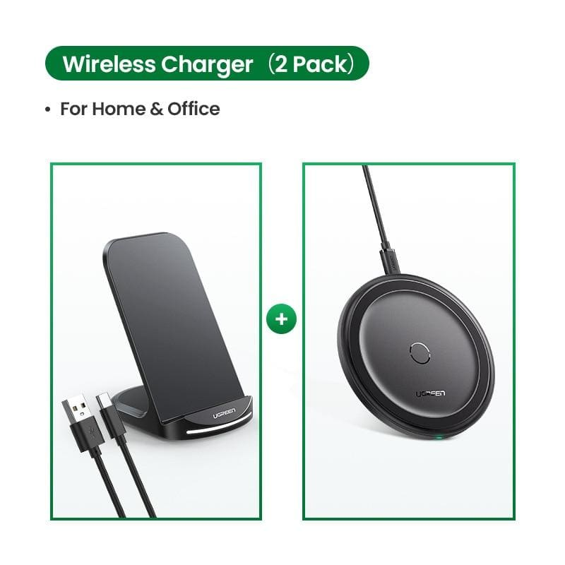 Ugreen qi wireless charger stand for iphone 11 pro x xs 8 xr samsung s9 s10 s8 s10e fast wireless charging station phone charger - on sale