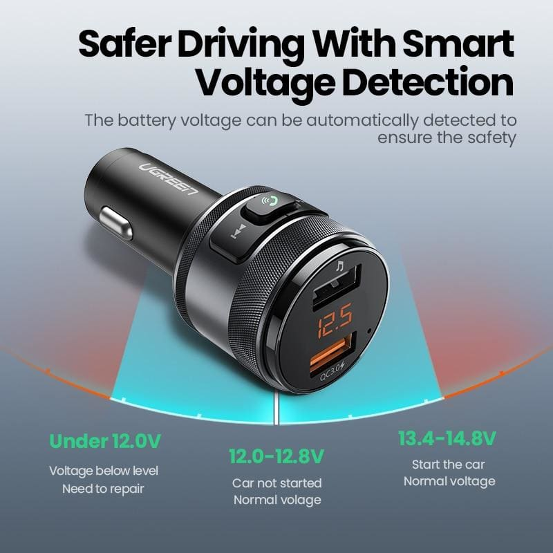 Ugreen USB Car Charger Bluetooth QC Quick 3.0 Charge Fast Charger for Xiaomi Samsung iPhone Huawei (FM Transmitter)