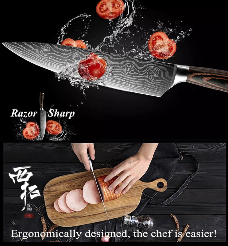 XITUO 5PCS Kitchen Knife Set Stainless Steel Blades Damascus Laser Chef Knife Sets Santoku Utility Paring Cooking Tools kitchen