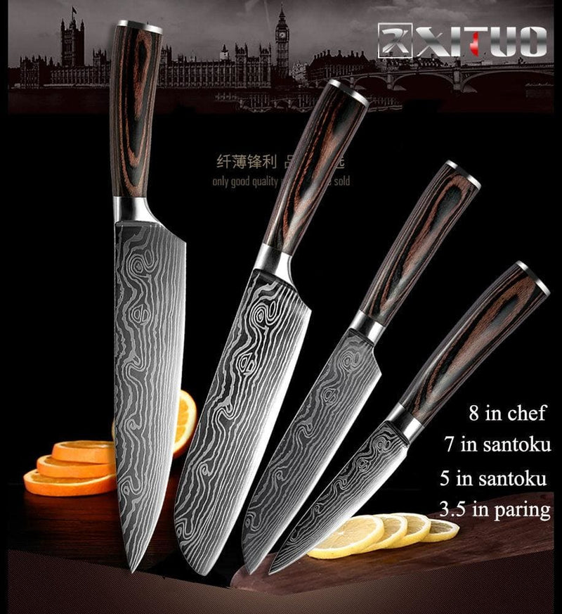 Xituo 5pcs kitchen knife set stainless steel blades damascus laser chef knife sets santoku utility paring cooking tools kitchen - on sale