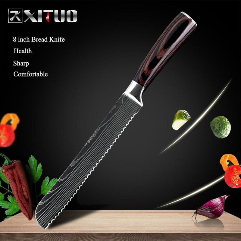 Xituo 8inch japanese kitchen knives laser damascus pattern chef knife sharp santoku cleaver slicing utility knives tool edc - on sale