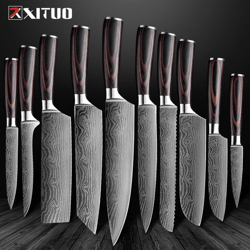 "XITUO High quality 8 ""inch Utility Chef Knives 7CR17 Stainless Steel Santoku kitchen Knives Sharp Cleaver Slicing Gift Knife New"