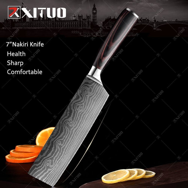 Xituo high quality 8 inch utility chef knives 7cr17 stainless steel santoku kitchen knives sharp cleaver slicing gift knife new - on sale