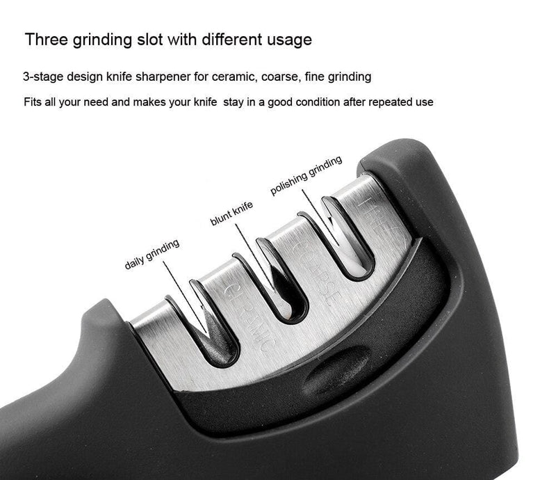 XITUO Knife Sharpener for Straight and Serrated Knives, 3-Stage Diamond Coated Wheel System, Sharpens Dull Knives Quickly, Safe