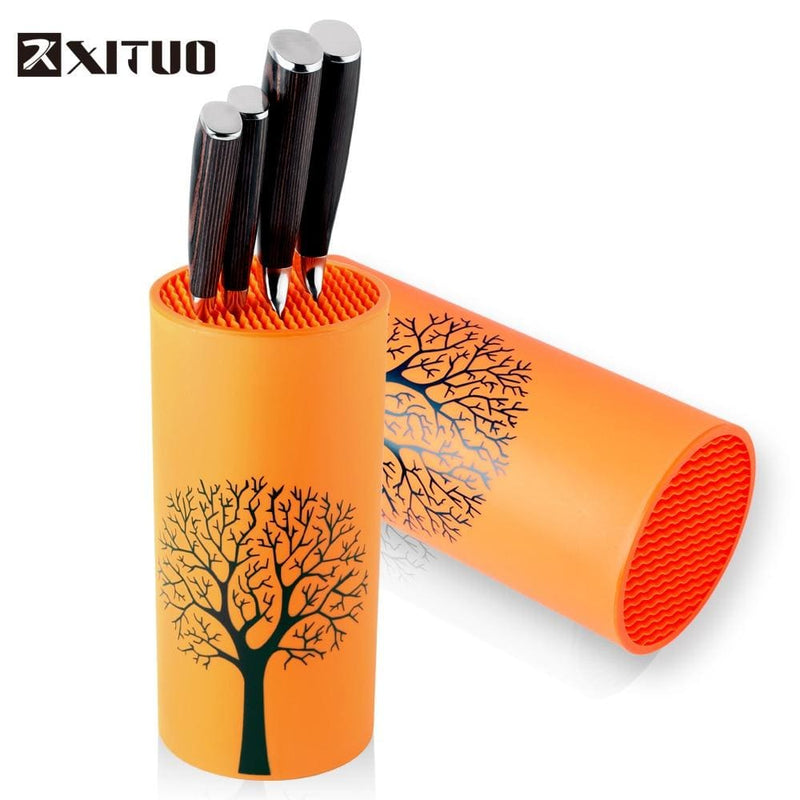 XITUO Tool holder knife Kitchen holder block orange stand sooktops tube shelf multifunctional bar outdoor BBQ Knife Sets New HOT