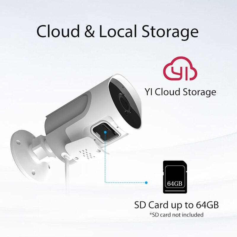 YI loT Outdoor IP Camera Full HD 1080p SD Card Security Surveillance Camera Weatherproof Night Vision YI Cloud YI IOT APP (EU Plug)