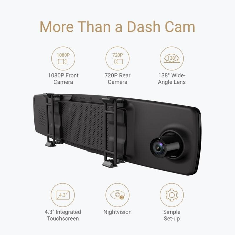 YI Mirror Dash Cam Dual Dashboard Camera Recorder Touch Screen Front Rear View HD Camera G Sensor Night Vision