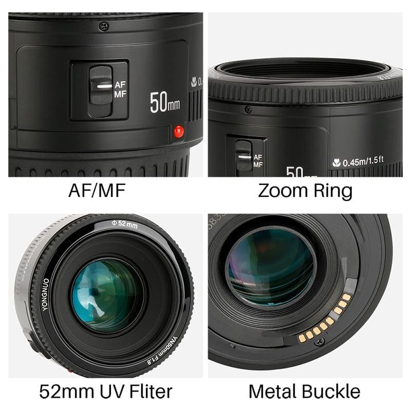 YONGNUO YN50mm YN50 F1.8 EF EOS 50MM AF MF Camera Lens For Canon Rebel T6 EOS 700D 750D 800D Mark II IV for Phone Camera Lens