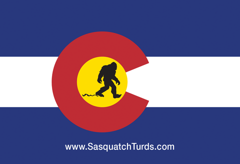 Sasquatch Turds Colorado Flag Sticker