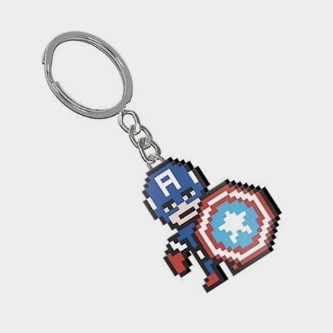8 Bit Captain America Keyring / Official Marvel | SP Australia