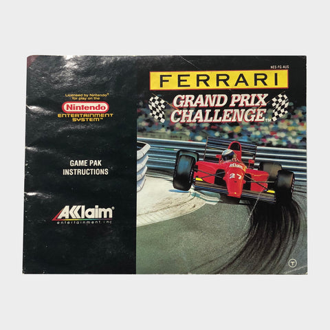 Ferrari Grand Prix Game Manual NES | Second Potion Australia