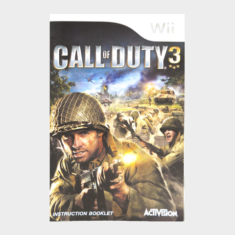 Call Of Duty 3 Wii Game Manual