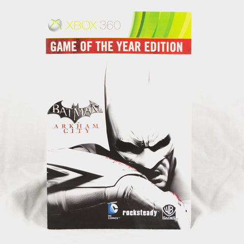 Batman Arkham City Game Of The Year Edition Xbox 360 Game Manual