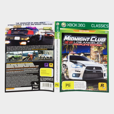 Midnight Club Los Angeles Complete Edition - Classics Xbox 360 Game Sleeve