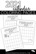 2021 Calendar Coloring Pages (PDF)