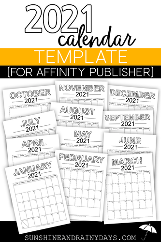 2021 Calendar Template (for Affinity Publisher)
