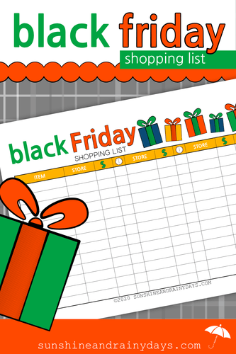 Black Friday Shopping List (PDF)