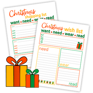 Christmas Want Need Wear Read Wish And Gift List (PDF)
