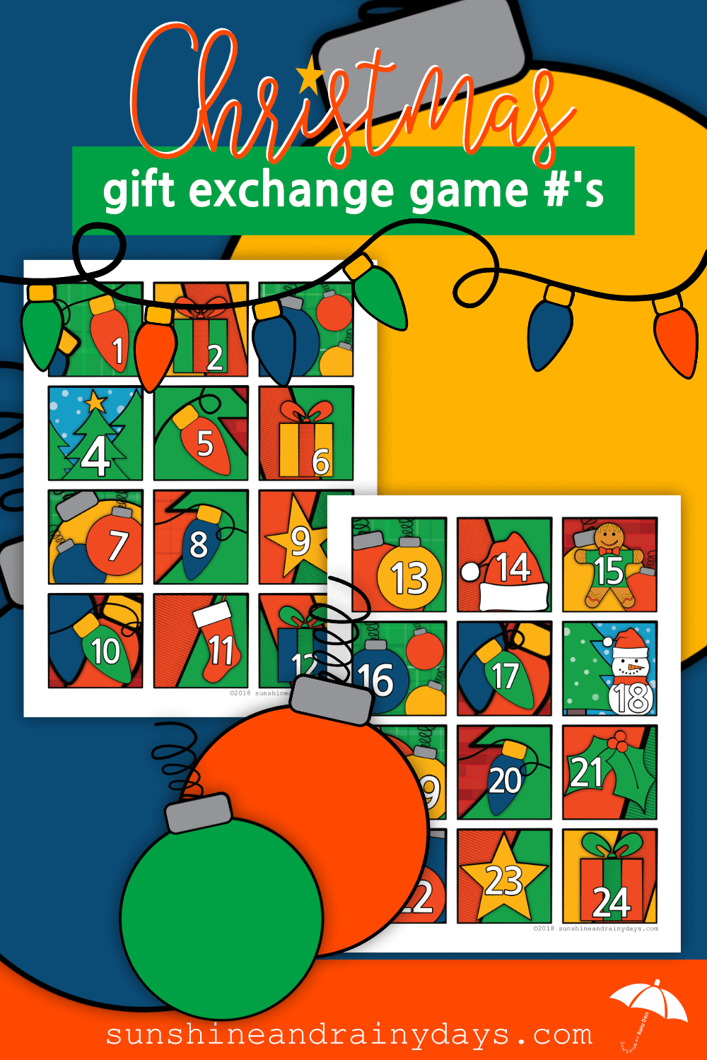 Christmas Gift Exchange Game Numbers (PDF)