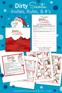 Dirty Santa Invites, Rules, & #'s (PDF)