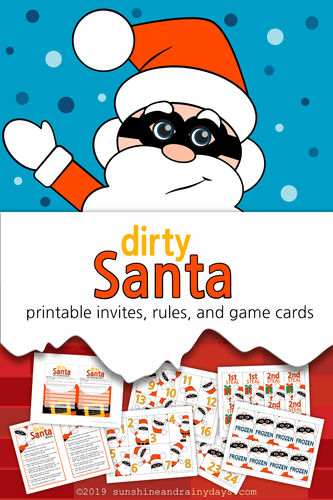 Dirty Santa Invites, Rules, and Game Cards (PDF)