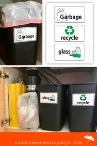 Garbage, Recycle, and Glass Labels (PDF)