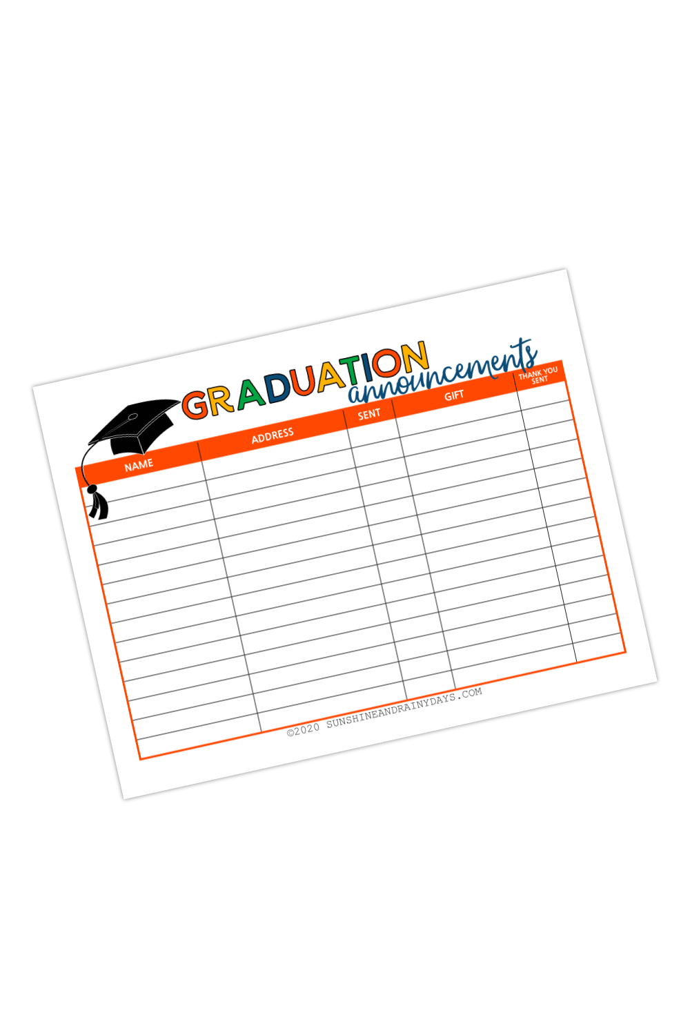 Graduation Announcements Sent To List (PDF)
